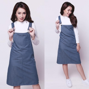 Pop Culture Overall Denim Dress