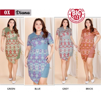 DIANA Dress Big Size - Batik Modern Jumbo Katun Stretch (OX)