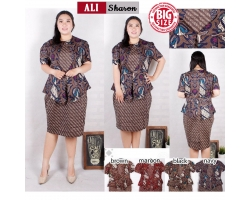 SHARON Peplum Dress Batik Modern Big Size Jumbo (ALI)