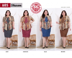 SHARON Peplum Dress Batik Modern Big Size Jumbo (AOS)