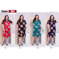 Benina Dress Batik Jumbo Katun Stretch kombinasi Brokat fit up to XXL (BEU)