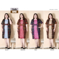 Carla Dress Batik kombinasi Brokat Jumbo Big Size fit up to XXL (BMB)