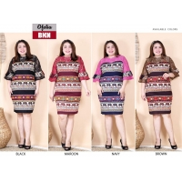 OFELIA Dress Jumbo Batik Kombinasi Brokat - Dress Big Size fit to XL (BKN)
