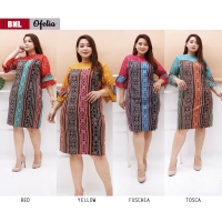 OFELIA Dress Jumbo Batik Kombinasi Brokat - Dress Big Size fit to XL (BNL)