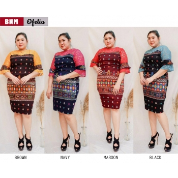 OFELIA Dress Jumbo Batik Kombinasi Brokat - Dress Big Size fit to XL (BNM)