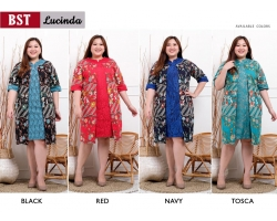 LUCINDA Dress Jumbo Batik Modern Kombinasi Brokat Big Size (BST)