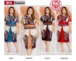 BEATRICE Jumbo Batik Dress Kombinasi - Big Size fit up to XXL (BSX)
