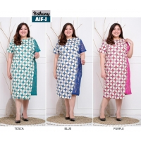 Bethany Dress Batik Big Size fit up to XXL - Batik Kombinasi Brokat Jumbo (AIF)