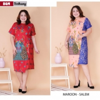 Bethany Dress Batik Big Size fit up to XXL - Batik Kombinasi Brokat Jumbo (BQM)