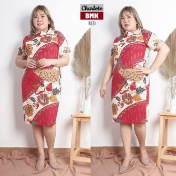 Charlote Dress Batik Jumbo Big Size fit up to XXL - Kerah Cheongsam Asimetris (BMK)