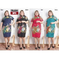 Charlote Dress Batik Jumbo Big Size fit up to XXL - Kerah Cheongsam Asimetris (BPS)