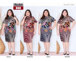 Charlote Dress Batik Jumbo Big Size fit up to XXL - Kerah Cheongsam Asimetris (BQN)