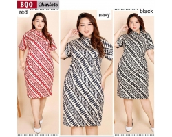 Charlote Dress Batik Jumbo Big Size fit up to XXL - Kerah Cheongsam Asimetris (BQO)