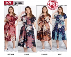 JOVITA Dress Pita Casual A-Line Batik Big Size Jumbo XXL (BCW)