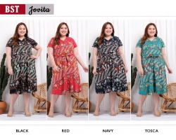 JOVITA Dress Pita Casual A-Line Batik Big Size Jumbo XXL (BST)
