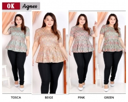 AGNES Blus Peplum Batik Jumbo - Atasan Big Size fit up to XXL (OK)