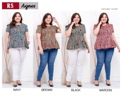 AGNES Blus Peplum Batik Jumbo - Atasan Big Size fit up to XXL (RS)