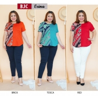 Erina Two-Tone Blouse Batik Jumbo - Atasan Wanita Big Size fit up to XXL (BJC)
