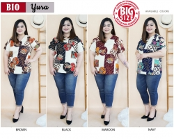 YURA Peekaboo Sleeves Top Jumbo Big Size - Blouse Batik Modern (BIO)