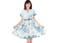 Saskia White Batik Dress + Obi - BLUE