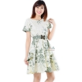 Saskia White Batik Dress + Obi - GREEN