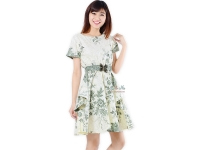 Saskia White Batik Dress + Obi - GREEN [BTKD02]