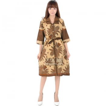 Ghea Batik Tunic Dress + Waist Tie - DASAR MOCCA (L, XL)