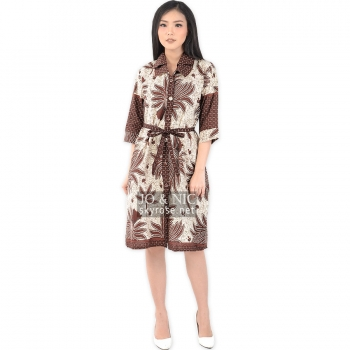 Ghea Batik Tunic Dress + Waist Tie - DASAR PUTIH (L, XL)