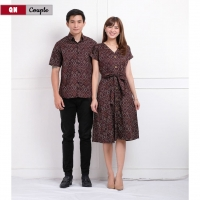 COUPLE Batik Modern Standard Size (Kemeja Pria + Dress Wanita) fit up to L (QN)