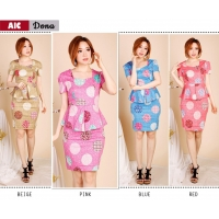 DONA Dress Peplum Batik Modern AllSize - Dress Kantor, Dress Pesta (AIC)