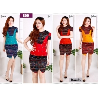 Wanda Elegant Dress Batik Modern Wanita fit up to L kecil (BOH)