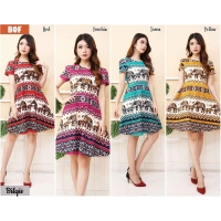 Bilqis Dress Batik Fit and Flare - Batik Modern Wanita fit up to L kecil (BOF)