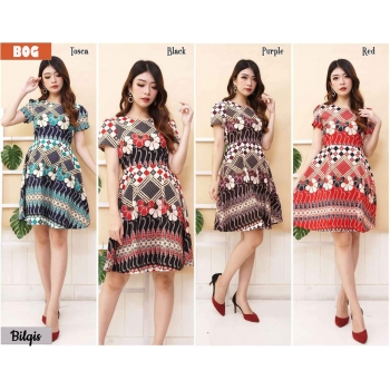 Bilqis Dress Batik Fit and Flare - Batik Modern Wanita fit up to L kecil (BOG)