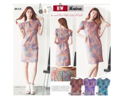 MAIRA Dress Elegant Style Batik Modern Katun Stretch (HW)