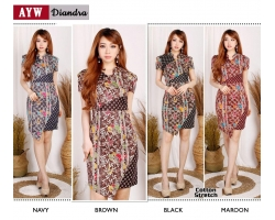 DIANDRA Dress Elegant Wanita Batik Modern Katun Stretch (AYW)