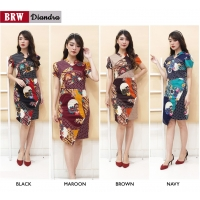 DIANDRA Dress Elegant Wanita Batik Modern Katun Stretch (BRW)