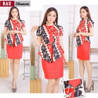 Shanon Dress Peplum Batik Modern Wanita fit up to L kecil (BAU)