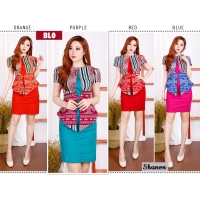 Shanon Dress Peplum Batik Modern Wanita fit up to L kecil (BLO)