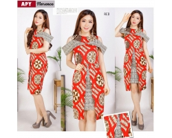 Florence Dress Batik Modern Wanita Sabrina Peplum fit up to L kecil (APY)