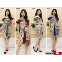 Florence Dress Batik Modern Wanita Sabrina Peplum fit up to L kecil (BSC)