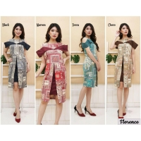 Florence Dress Batik Modern Wanita Sabrina Peplum fit up to L kecil (BSD)