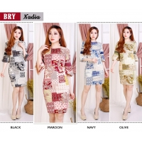 Nadia Dress Batik Wanita AllSize / Dress Kantor / Dress Pesta fit up to L kecil (BRY)