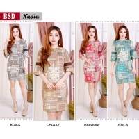Nadia Dress Batik Wanita AllSize / Dress Kantor / Dress Pesta fit up to L kecil (BSD)