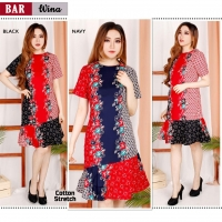 WINA Dress Batik Wanita Modern Selutut fit up to L kecil (BAR)