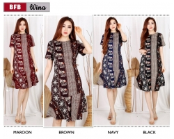 WINA Dress Batik Wanita Modern Selutut fit up to L kecil (BFB)