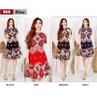 WINA Dress Batik Wanita Modern Selutut fit up to L kecil (BGA)