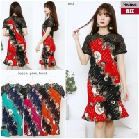 Belina Dress Batik Wanita kombinasi Brokat AllSize fit up to L kecil (BJZ)
