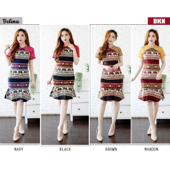 Belina Dress Batik Wanita kombinasi Brokat AllSize fit up to L kecil (BKN)