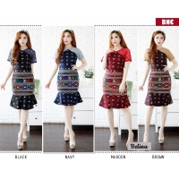 Belina Dress Batik Wanita kombinasi Brokat AllSize fit up to L kecil (BNC)