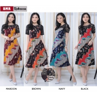 REBECCA Dress Batik Modern kombinasi Brokat One Size fit up to L kecil (BMR)